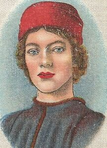 Vintage Tobacco Cigarette Silk Use In Crazy Quilt Portr Young Man Botticelli