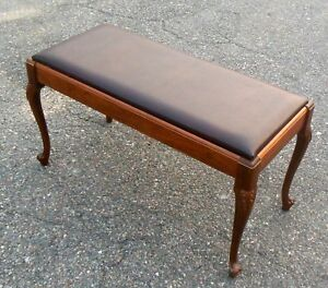 Vtg Piano Bench Carved French Cabriole Legs Storage Sheet Music Ohio