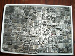 No 95 Vintage Lot Of 270 Pieces Letterpress Printers Lead Type Letters Numbers