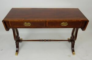 Baker Furniture Regency Style Inlaid Banded Mahogany Drop Leaf Sofa Table