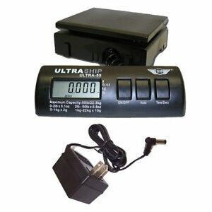 Postal Scales Ultraship 55lb Electronic Digital Shipping Black With Power Supply