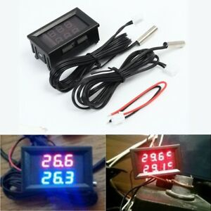 Led Dual Display Digital Thermometer Sensor Dc 4 28v Ntc Metal Waterproof Probe