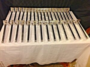 Lot Of 32 Chrome Metal Slat Wall Straight Face out Brackets With Ball End
