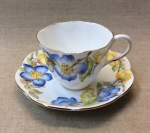 Vintage China Salisbury Cup Saucer Adrian Hand Painted Floral Blue Yellow