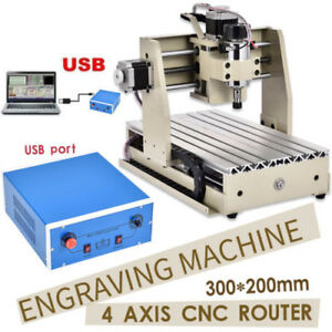 4 Axis 3020t Cnc Router Engraver Engraving Drilling 3d Cutter Carver Machine Usb