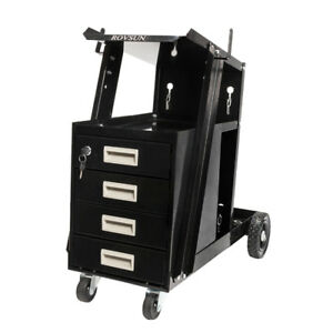 4 Drawer Cabinet Welding Welder Cart Mig Flux Arc Tig Tank Storage Swivel Wheel