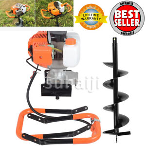 2 2hp Gas Powered Post Hole Digger With 8 Earth Auger 52cc Power Engine Usa