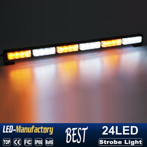 27 24led Strobe Lights Bar Emergency Warning Traffic Advisor Beacon Amber White