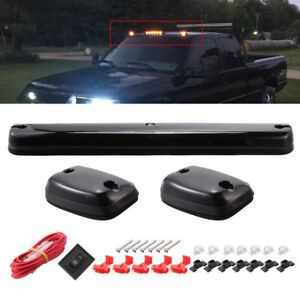 3pc Smoke Cab Roof Running Amber Led Lights For Chevy 07 13 Silverado Gmc Sierra