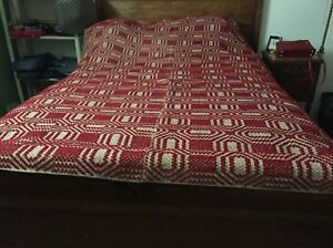 1800 S Antique Hand Woven Red Cream Overshot Jacquard Coverlet Book
