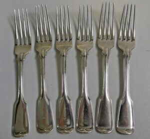 Antique Circa 1832 Finch Cagger American Coin Silver Set Of 6 Dinner Fork S