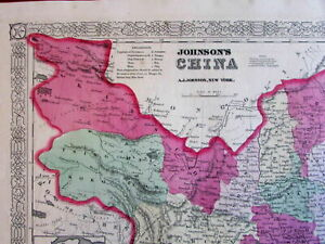 China Chinese Empire Tibet Canton Amoy Mongolia Formosa 1862 Old Antique Map