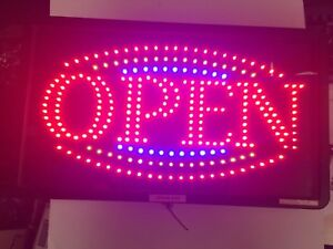 Large Bright Animated Motion Flashing Business Led Open Sign W Switch 21 X12