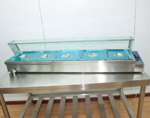 56 5 pan plus Well Bain marie Food Warmer Steam Table 1500w With Pans