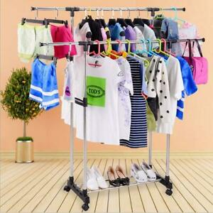 Single double Bar Heavy Duty Scalable Hanging Garment Rack Clothes Hanger Shelf