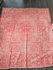 Antique Jacquard Coverlet Dated 1889 Red And White American