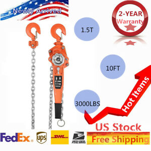 1 5ton 3000lbs Heavy Duty Lever Block Chain Hoist Ratchet Come Along Puller 10ft
