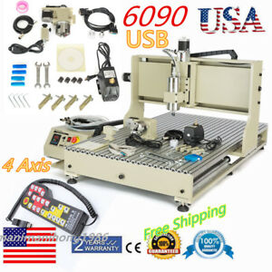 Usb Cnc 6090 4axis Engraver Router Engraving Drilling Machine 2200w Controller