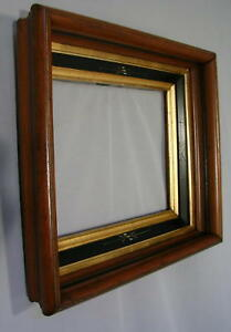 Antique Eastlake Shadowbox Picture Frame Walnut W Double Gold Liners 8 X10