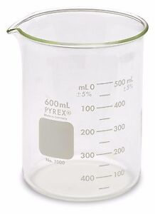 Corning Pyrex 1000 Griffin Low Form Glass Beaker 600ml 3 Pack