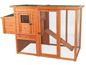 Chicken Coop Wood Wire Hen House 2 Story Hinged Roof