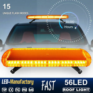 30 56 Led Strobe Light Emergency Beacon Warning Tow Truck Roof Top Amber Yellow