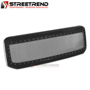 For 1999 2004 Ford F250 F350 Rivet Stud Mesh Style Front Bumper Grille Black