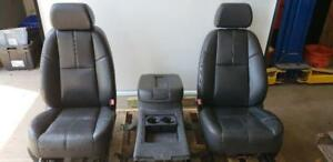 Both Front Seats 07 Chevy Suburban Black Leather Very Nice