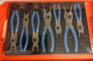 Rare Blue Pearl Snap on 7 piece Retaining Ring Plier Set Srpc107apb