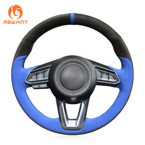 Custom Blue Black Suede Steering Wheel Cover For Mazda 3 Cx 3 Cx5 Mazda 6 Cx 9