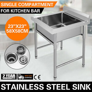 Stainless Steel Handmade Prep Utility Sink Square Apron Kitchen Bar Great