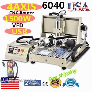Usb 1 5kw Vfd 4 Axis 6040 Cnc Router Engraver Drilling Machine Controller Usa