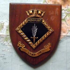 Old Vintage Hms Adamant Painted Royal Navy Ship Badge Crest Shield Plaque