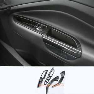 Carbon Fiber Window Switch Panel Cover Trim Fit For Ford Kuga Escape 2013 2017