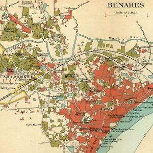 India Benares City Plan Shows Mosque 1909 Detailed Old Color Litho Map