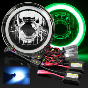 7 Round Black Crystal Hi power 3d Blue Smd Halo Projector Headlight 10000k Hid