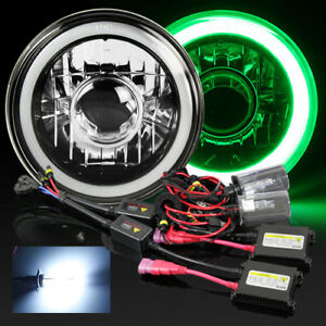 7 Round H6024 Black Crystal 3d Blue Smd Halo Projector Headlight 8000k Hid Kit