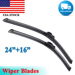 24 16 Windshield Wiper Blades Bracketless J Hook Oem Quality Beam All Season