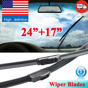 24 17 Oem Quality Beam Windshield Wiper Blades Bracketless All Season J Hook