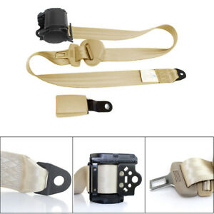 3 Point Adjustable Car Seat Belts Safety Lap Belt Beige With Curved Rigid Buckle