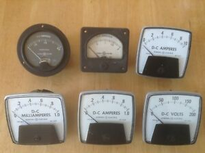 General Electric Vintage Meters Gauges Lot Of 6
