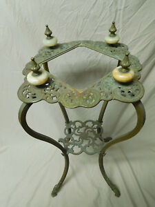 Vintage Antique Ornate 2 Tier Brass Marble Plant Telephone Statue Stand
