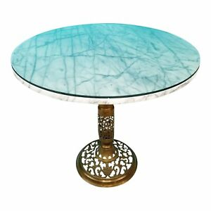 Hollywood Regency Mcm Brass Marble W Glass Top Side Accent Table 20 5 X 24