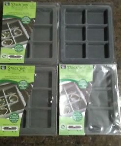 4 Stack em Gray Insert Tray Liners Drawer Organizer Jewelry Displays