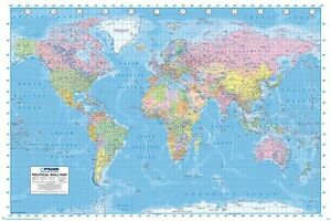 Political World Map Poster Updated 2013 New World Map Poster