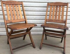 Pair Heywood Wakefield Folding Stadium Chairs Single Seats