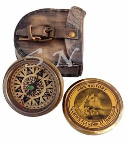 Vintage Brass Antique Hms Victory Compass Solid Brass With Leather Case