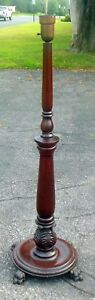 Antique Empire Floor Lamp Carved Mahogany Paw Feet Acanthus Leaves Ca 1910