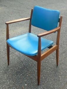 Mid Century Modern Chair Teal Leatherette Jens Risom Style