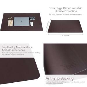 Zbrands Brown Leather Smooth Desk Mat Pad Blotter Protector Extended Non sli
